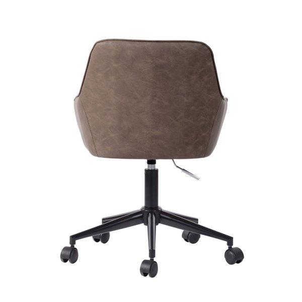 Chaise de bureau pivotante contemporaine et ergonomique avec hauteur réglable Baynes de FurnitureR, brun