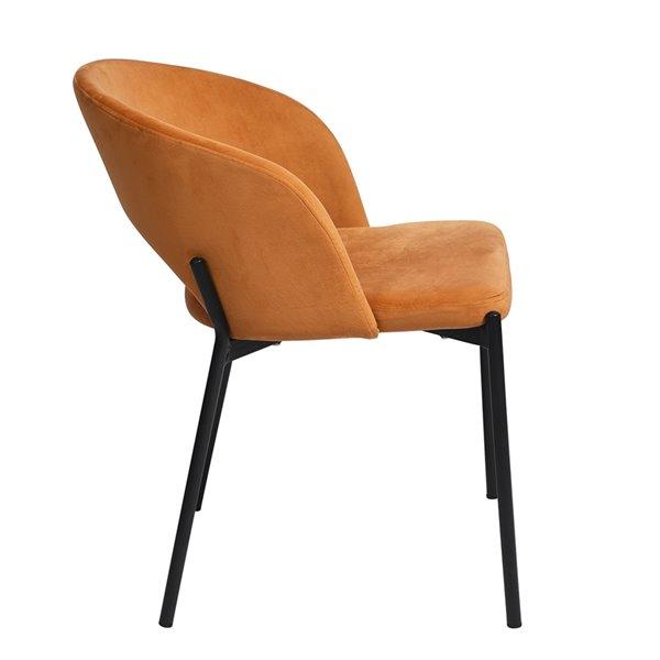 Chaise d'appoint contemporaine rembourrée en polyester Pistons de FurnitureR, cadre en métal, corail, 2 pièces