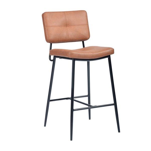 Tabouret de bar rembourré Independence brun à hauteur de bar (27 po à 35 po) par FurnitureR, ens. de 2