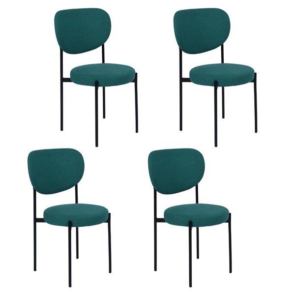 Chaise d'appoint contemporaine rembourrée en polyester Barbara de FurnitureR, cadre en métal, vert, 4 pièces
