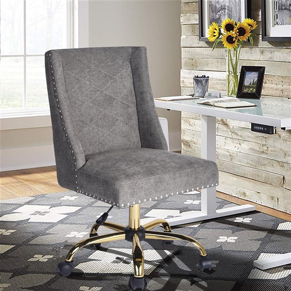 FurnitureR Tronco Grey Contemporary Ergonomic Adjustable Height Swivel Manager Chair