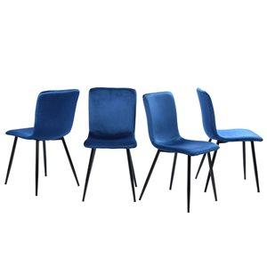 FurnitureR Scargill Set of 4 Rose Contemporary Polyester/Polyester Blend Upholstered Side Chair (Metal Frame)