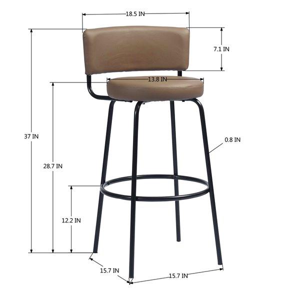 Tabouret de bar rembourré Chive brun à hauteur de bar (27 po à 35 po) par FurnitureR, ens. de 2