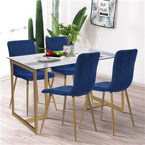 Chaise d'appoint contemporaine rembourrée en polyester Scargill de FurnitureR, cadre en métal, bleu, 4 pièces