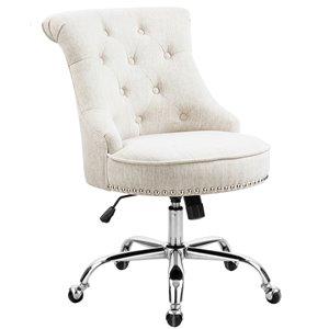 Chaise de bureau pivotante contemporaine et ergonomique avec hauteur réglable Bowden de FurnitureR, beige