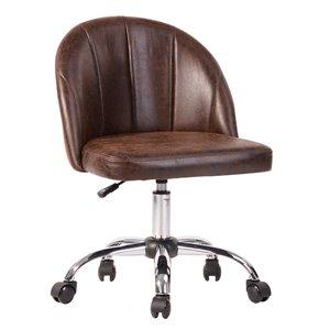 Chaise de bureau pivotante contemporaine et ergonomique avec hauteur réglable Dearon de FurnitureR, brun
