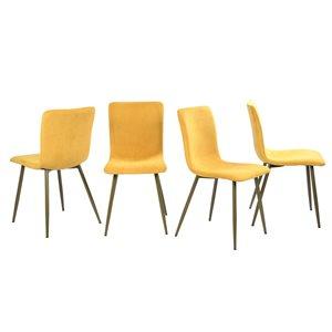 Chaise d'appoint contemporaine rembourrée en polyester Scargill de FurnitureR, cadre en métal, menthe, 4 pièces