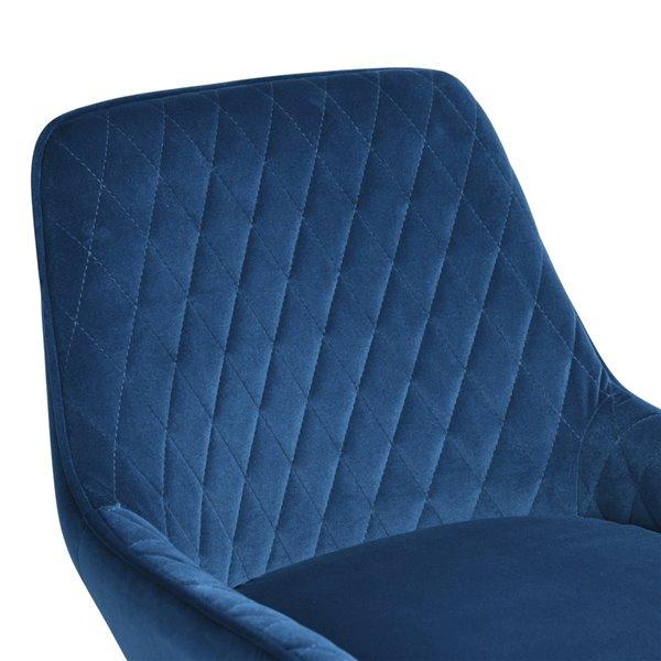 Tabouret de bar rembourré Rabiot bleu à hauteur de bar (27 po à 35 po) par FurnitureR, ens. de 2