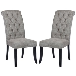Chaise Parsons contemporaine rembourrée en polyester Wilona de FurnitureR, cadre en composite, gris foncé, 2 pièces