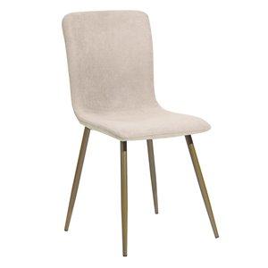 Chaise d'appoint contemporaine rembourrée en polyester Scargill de FurnitureR et cadre en métal, beige, 6 pièces