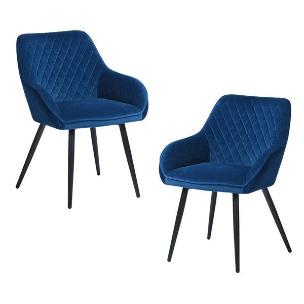 Fauteuil contemporain en velours rembourré Rabiot de FurnitureR, cadre en métal, bleu, 2 pièces