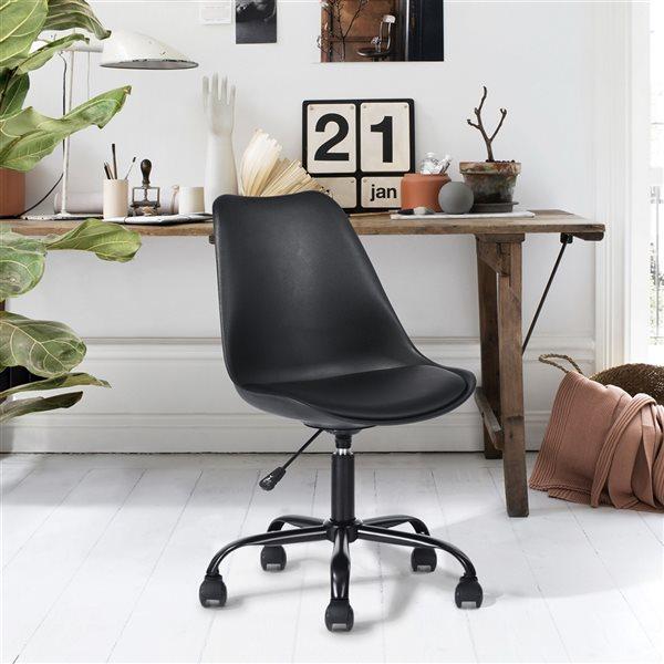 Chaise de bureau pivotante contemporaine et ergonomique avec hauteur réglable, sans accoudoir,  Blokhus  de FurnitureR, noir