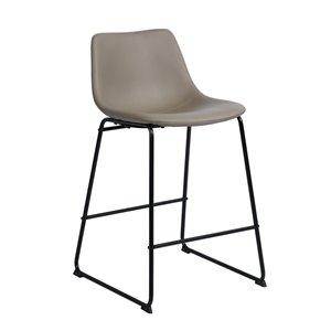 Tabouret de bar rembourré Batassel gris à hauteur de comptoir (22 po à 26 po) par FurnitureR, ens. de 2