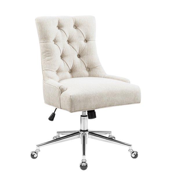 Chaise de bureau pivotante contemporaine et ergonomique avec hauteur réglable Chaden de FurnitureR, beige