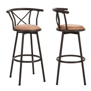 Tabouret de bar rembourré Hailey brun à hauteur de bar (27 po à 35 po) par FurnitureR, ens. de 2