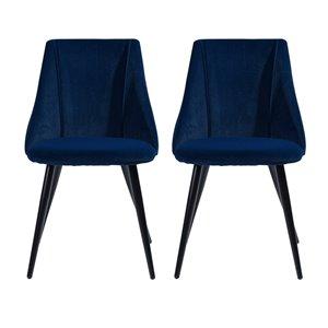 Chaise d'appoint contemporaine rembourrée en polyester/mélange de polyester Smeg de FurnitureR, cadre en métal, bleu, 2 pièc