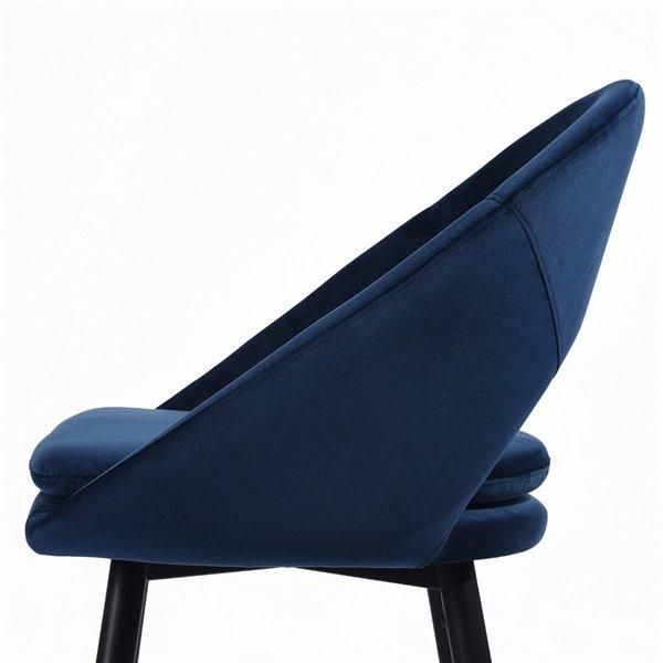 Tabouret de bar rembourré Kenzie bleu à hauteur de bar (27 po à 35 po) par FurnitureR, ens. de 2