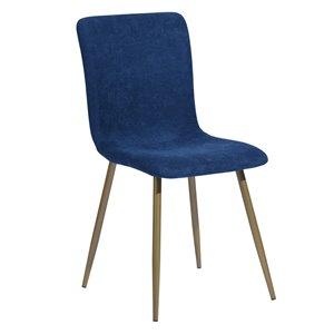 Chaise d'appoint contemporaine rembourrée en polyester Scargill de FurnitureR, cadre en métal, bleu, 6 pièces