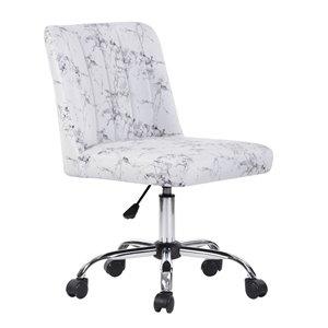 Chaise de bureau pivotante contemporaine et ergonomique avec hauteur réglable Maker de FurnitureR, blanc et noir