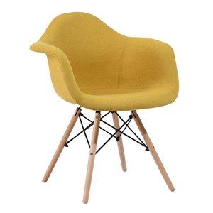 Fauteuil contemporain en polyester/mélange de polyester rembourré Kohler de FurnitureR, cadre en composite, jaune, 2 pièces