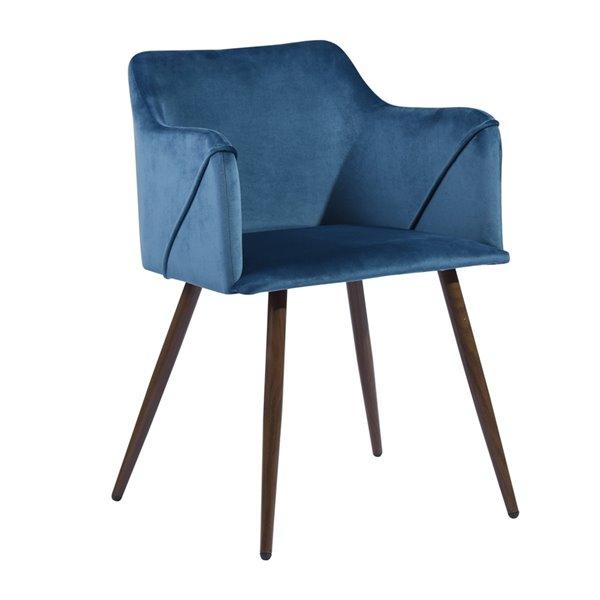 Fauteuil contemporain en velours rembourré Aldridge de FurnitureR, cadre en métal, bleu, 2 pièces