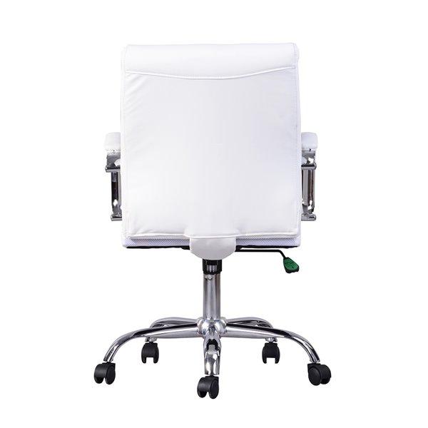 Chaise de bureau pivotante contemporaine et ergonomique avec hauteur réglable Rowell de FurnitureR, blanc