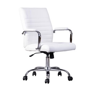 FurnitureR Rowell White Contemporary Ergonomic Adjustable Height Swivel Desk Chair