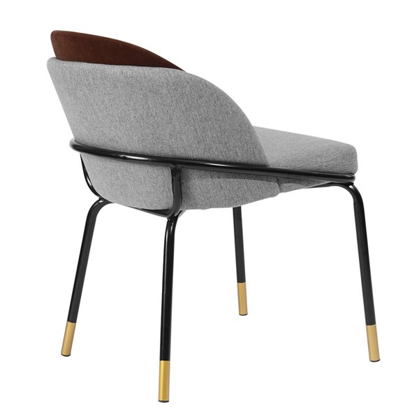 Chaise d'appoint contemporaine rembourrée en polyester/mélange de polyester Grujic de FurnitureR, cadre en métal, brun, 2 pi