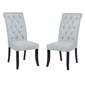 Chaise Parsons contemporaine rembourrée en polyester Wilona de FurnitureR, cadre en composite, gris, 2 pièces
