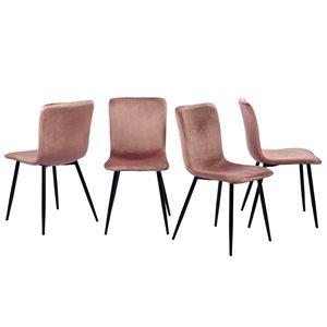 Chaise d'appoint contemporaine rembourrée en polyester Scargill de FurnitureR et cadre en métal, rose, 4 pièces