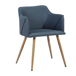 Fauteuil contemporain en polyester/mélange de polyester rembourré Aldridge de FurnitureR, cadre en métal, bleu, 2 pièces