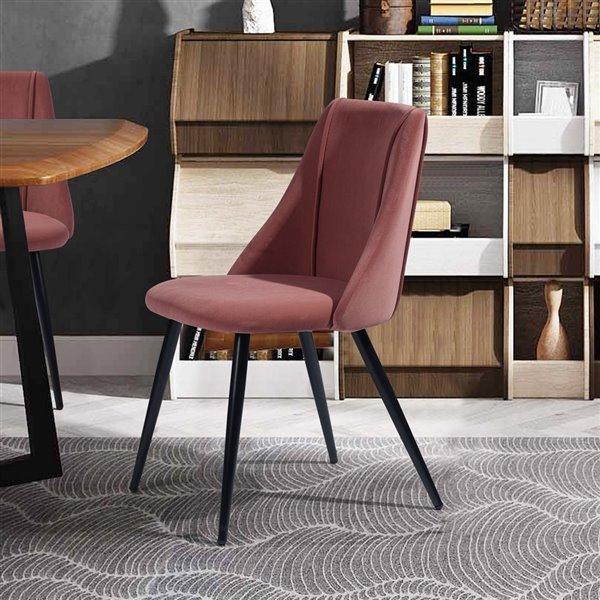 Chaise d'appoint contemporaine rembourrée en polyester/mélange de polyester Smeg de FurnitureR, cadre en métal, rose, 2 pièc