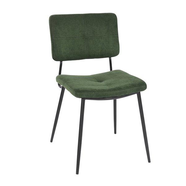 Chaise d'appoint contemporaine rembourrée en polyester/mélange de polyester Karomi de FurnitureR, cadre en métal, vert, 2 pi