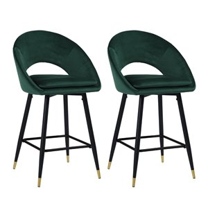 FurnitureR Kenzie Green Bar Height (27-in to 35-in) Upholstered Bar Stools - Pack of 2