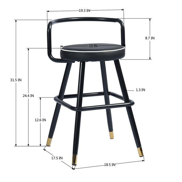 Tabouret de bar rembourré Ballon noir à hauteur de comptoir (22 po à 26 po) par FurnitureR, ens. de 2