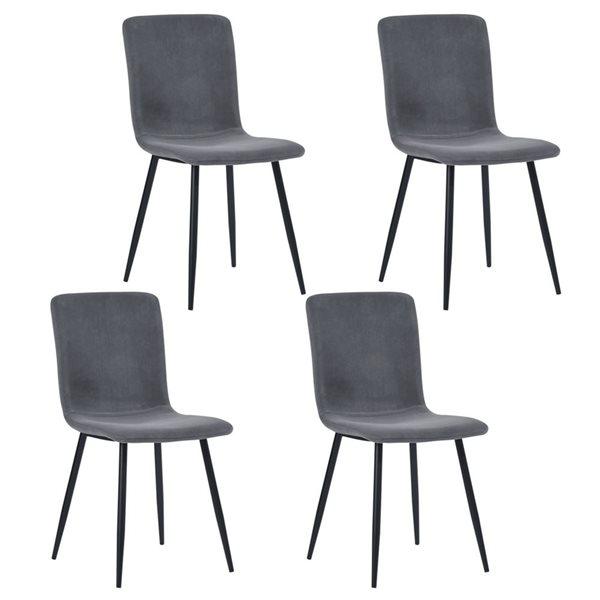 Chaise d'appoint contemporaine rembourrée en polyester Scargill de FurnitureR, cadre en métal, gris, 4 pièces