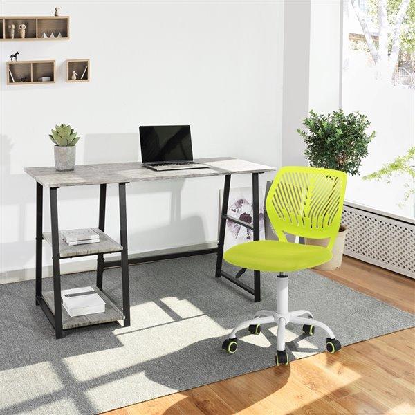 Chaise de bureau pivotante contemporaine et ergonomique avec hauteur réglable, sans accoudoir, Carnation de FurnitureR, vert