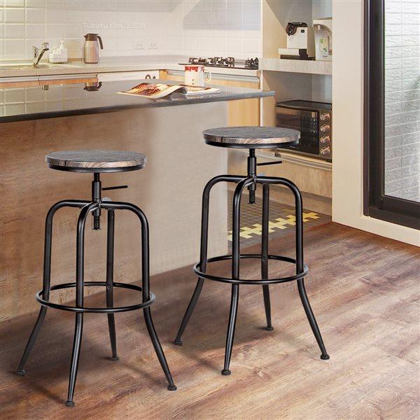 Tabouret de bar pivotant Anacletus brun à hauteur ajustable par FurnitureR, ens. de 2