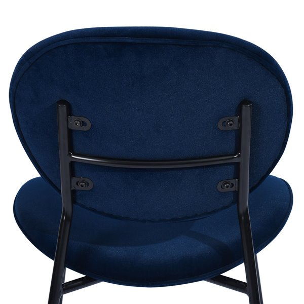 Chaise d'appoint contemporaine rembourrée en velours Darida de FurnitureR, cadre en métal, bleu, 4 pièces