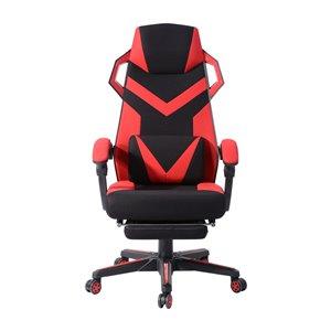 FurnitureR Landuci Red Contemporary Ergonomic Adjustable Height Swivel Headrest Chair
