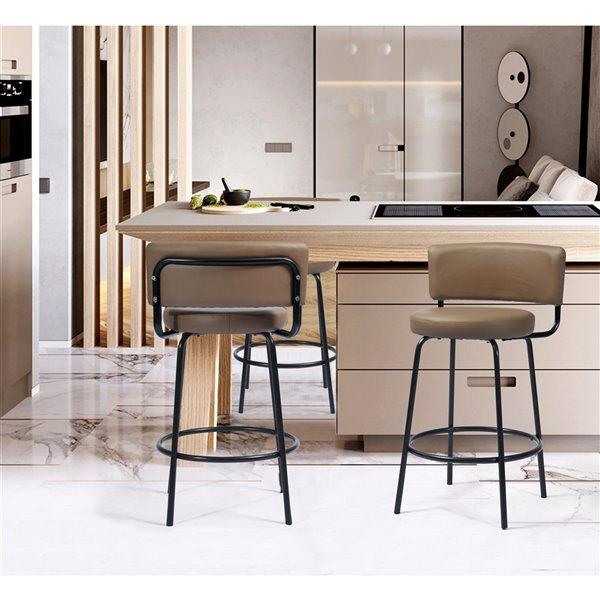 Tabouret de bar rembourré Chive brun à hauteur de comptoir (22 po à 26 po) par FurnitureR, ens. de 2