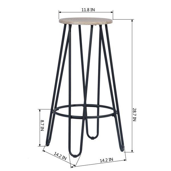 Tabouret de bar Essia hêtre à hauteur de bar (27 po à 35 po) par FurnitureR, ens. de 2