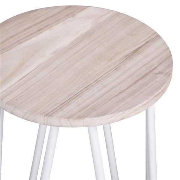 Tabouret de bar Essia blanc à hauteur de comptoir (22 po à 26 po) par FurnitureR, ens. de 2