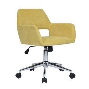Chaise de bureau pivotante contemporaine et ergonomique avec hauteur réglable Ross de FurnitureR, jaune