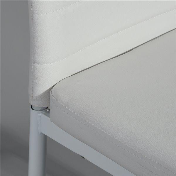 Chaise Parsons contemporaine rembourrée en similicuir Ann de FurnitureR, cadre en métal, blanc, 4 pièces