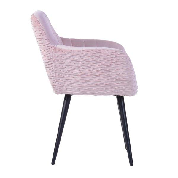 Fauteuil contemporain en velours rembourré Mbaye de FurnitureR, cadre en métal, rose, 1 pièce