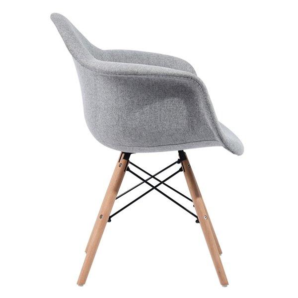 Fauteuil contemporain en polyester/mélange de polyester rembourré Kohler de FurnitureR, cadre en composite, gris, 2 pièces