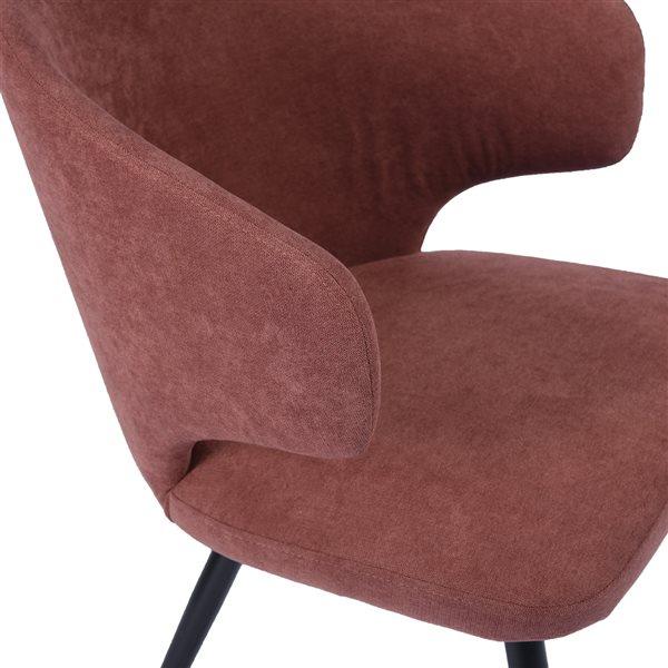 Chaise de type fauteuil contemporaine rembourrée en velours Yueill de FurnitureR, cadre en métal, corail, 2 pièces