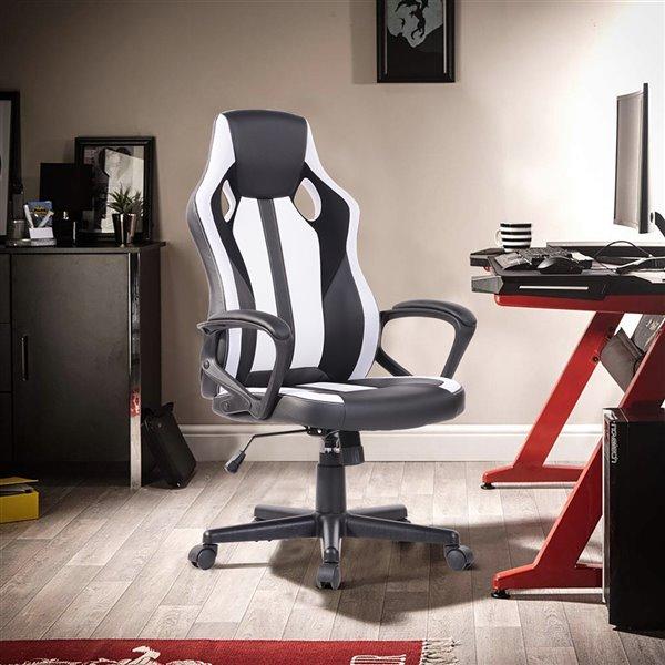 Chaise de bureau pivotante contemporaine et ergonomique avec hauteur réglable Jaxson de FurnitureR, blanc