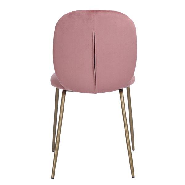 Chaise Parsons contemporaine rembourrée en velours Jule de FurnitureR, cadre en métal, rose, 2 pièces